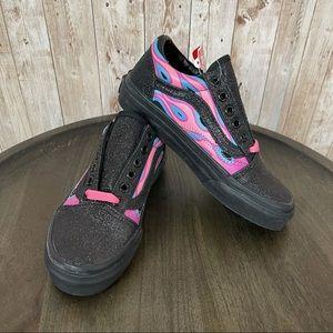 Vans Old Skool Sparkle Flame Pink Lemo Shoe Sz13.5